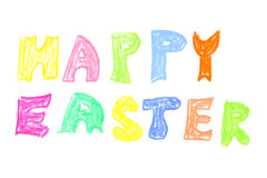 Happy easter greetings by crayons Royalty Free Stock Photos