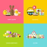 Happy Easter Greetings Flat Concepts Set Royalty Free Stock Image