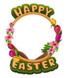 Happy Easter greetings with flowers frame isolated on white Royalty Free Stock Photography