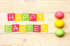 Happy easter grunge postcard. With 3 eggs Royalty Free Stock Images
