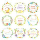 Happy easter hand drawn badge with hand lettering greeting decoration element and natural wreath handmade style vintage Royalty Free Stock Image