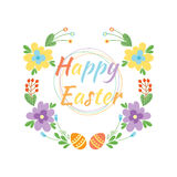 Happy easter hand drawn badge with hand lettering greeting decoration element and natural wreath handmade style vintage Stock Images
