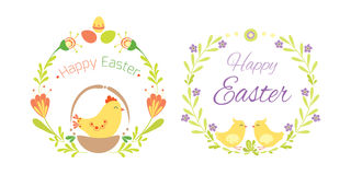 Happy easter hand drawn badge with hand lettering greeting decoration element and natural wreath handmade style vintage Royalty Free Stock Photo