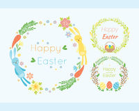 Happy easter hand drawn badge with hand lettering greeting decoration element and natural wreath handmade style vintage Royalty Free Stock Photography