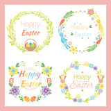 Happy easter hand drawn badge with hand lettering greeting decoration element and natural wreath handmade style vintage Royalty Free Stock Photos