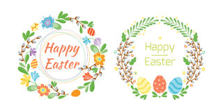 Happy easter hand drawn badge with hand lettering greeting decoration element and natural wreath handmade style vintage Stock Photo