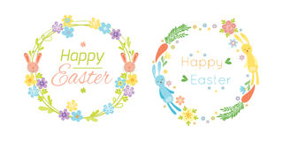 Happy easter hand drawn badge with hand lettering greeting decoration element and natural wreath handmade style vintage Stock Image