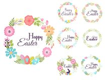 Happy easter hand drawn badge hand lettering greeting decoration natural wreath spring flower vector illustration. Happy easter hand drawn badge hand lettering Stock Images