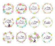 Happy easter hand drawn badge hand lettering greeting decoration element and natural wreath spring flower vector Stock Photo