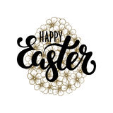 Happy Easter Hand drawn calligraphy and brush pen lettering with gold floral silhouette egg Stock Photos