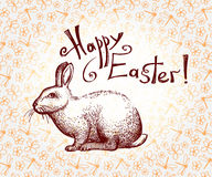 Happy Easter hand drawn greeting card with lettering and doodle Easter bunny. Vector Royalty Free Stock Images
