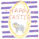 Happy Easter hand drawn greeting card with lettering and sketched doodle elements cute sheep easter egg shape on color background Royalty Free Stock Photo