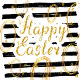 Happy Easter hand drawn greeting card with lettering and sketched doodle elements, gold glitter on black lines background Stock Photos