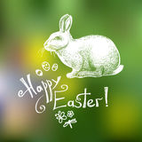 Happy Easter hand drawn greeting card template isolated on green blurry background. Vector Royalty Free Stock Photography