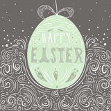 Happy Easter hand drawn illustration. Easter art egg. Creative v. Happy Easter hand drawn illustration. Easter art egg. Creative  greeting template Stock Photo