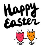 Happy easter hand drawn illustration with two tulips holding hands vector illustration