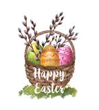 Happy Easter. Hand-drawn watercolor Easter basket with eggs and sprigs of willow isolated on the white background. Greeting card template, spring illustration Royalty Free Illustration