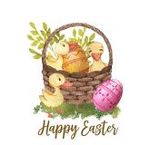 Happy Easter. Hand-drawn watercolor Easter basket with eggs, spring leaves and ducklings isolated on the white background. Greeting card template, spring Royalty Free Illustration