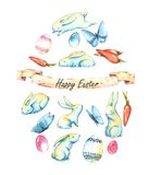 Happy Easter. Hand-drawn watercolor egg made of Easter cute bunnies, butterflies and colored eggs isolated on the white background. Greeting card template Vector Illustration