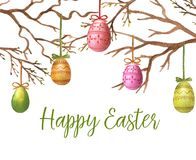 Happy Easter. Hand-drawn watercolor Easter eggs on the decorative willow branches. Greeting card template, spring illustration. Happy Easter Royalty Free Stock Photo