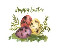 Happy Easter. Hand-drawn watercolor Easter eggs and spring branches isolated on the white background. Greeting card template, spring illustration. Happy Easter Royalty Free Stock Photography
