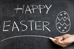 Happy Easter Hand Egg Blackboard Stock Photos
