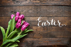 Happy Easter hand lettering calligraphy royalty free stock image