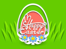 Happy Easter hand lettering in egg shape Stock Photo