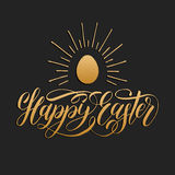 Happy Easter hand lettering greeting card with egg. Religious holiday vector illustration on black background. Happy Easter hand lettering greeting card with Royalty Free Stock Photos