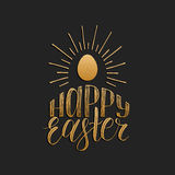 Happy Easter hand lettering greeting card with egg. Religious holiday vector illustration on black background. Royalty Free Stock Photos