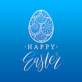 Happy Easter hand lettering greeting card with egg. Religious holiday vector illustration on blue background. Royalty Free Stock Images