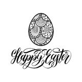 Happy Easter hand lettering greeting card with egg. Religious holiday vector illustration on white background. Royalty Free Stock Image