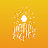 Happy Easter hand lettering greeting card with egg. Religious holiday vector illustration on yellow background. Stock Photo