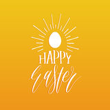 Happy Easter hand lettering greeting card with egg. Religious holiday vector illustration on yellow background. Royalty Free Stock Photo