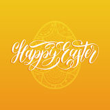 Happy Easter hand lettering greeting card with egg. Religious holiday vector illustration on yellow background. Royalty Free Stock Images