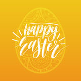 Happy Easter hand lettering greeting card with egg. Religious holiday vector illustration on yellow background. Stock Images