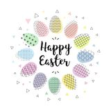Happy Easter. Hand lettering script over abstract background with colorful easter eggs. Vector illustration Royalty Free Stock Photography
