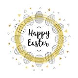 Happy Easter. Hand lettering script over abstract background with easter eggs and golden decorative element. Vector illustration Royalty Free Stock Photos