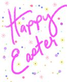 Happy Easter. Hand written happy easter in grunge pink with dots and flowers Royalty Free Stock Images