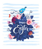 Happy Easter hand written text against bush of rose flowers, blue bird sitting on top of it and horizontal paint traces Stock Images