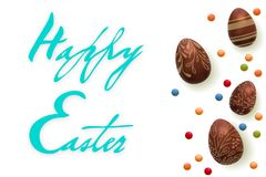 Happy Easter Handwriting text. Template vector card with realistic 3d render eggs, candies. isolated over white background royalty free illustration