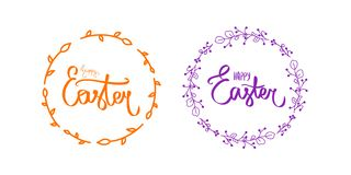 Happy Easter. Handwritten lettering isolated on white background. Vector hand drawn calligraphy. Abstract Easter outline style. Ty stock illustration