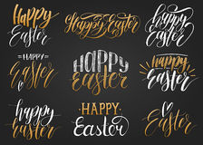 Happy Easter handwritten lettering set.Religious calligraphy collection on black background for greeting cards,tags etc. Happy Easter handwritten lettering set Royalty Free Stock Photos