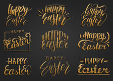 Happy Easter handwritten lettering set.Religious calligraphy collection on black background for greeting cards,tags etc. Stock Photography