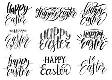 Happy Easter handwritten lettering set.Religious calligraphy collection on white background for greeting cards,tags etc. Happy Easter handwritten lettering set Stock Image