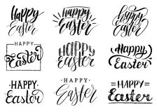 Happy Easter handwritten lettering set.Religious calligraphy collection on white background for greeting cards,tags etc. Happy Easter handwritten lettering set Royalty Free Stock Images