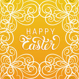 Happy Easter handwritten type greeting card in tracery pattern frame. Religious holiday vector illustration for poster. Happy Easter handwritten type greeting Stock Images