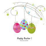 Happy easter hanging eggs greeting card Stock Photography