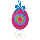 Happy easter hanging pink egg greeting card Royalty Free Stock Photos