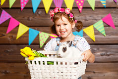Happy easter! happy funny child girl with bunny. Happy easter! happy funny child girl with Easter bunny Stock Images